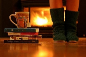books fireplace favim.com